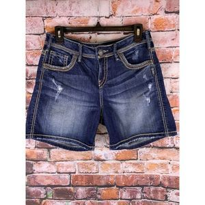 Silver Blue Jean Denim Short Distressed Dark Wash